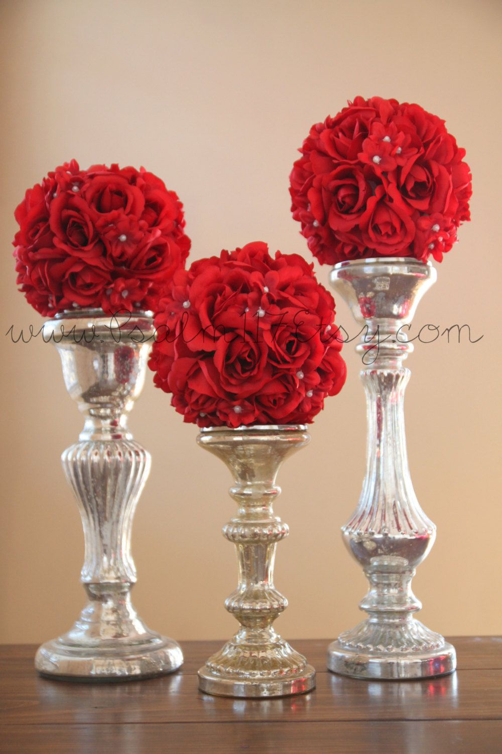 6 6 inch wide red wedding pomanders you choose for Red wedding flower ideas