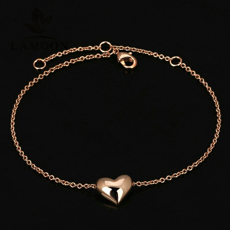 Top Quality Simple Smooth Small Heart Rose Gold Color Bracelet ...