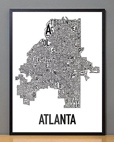 Explore maps posters poster prints and more framed atlanta neighborhoods map black white 18 x 24