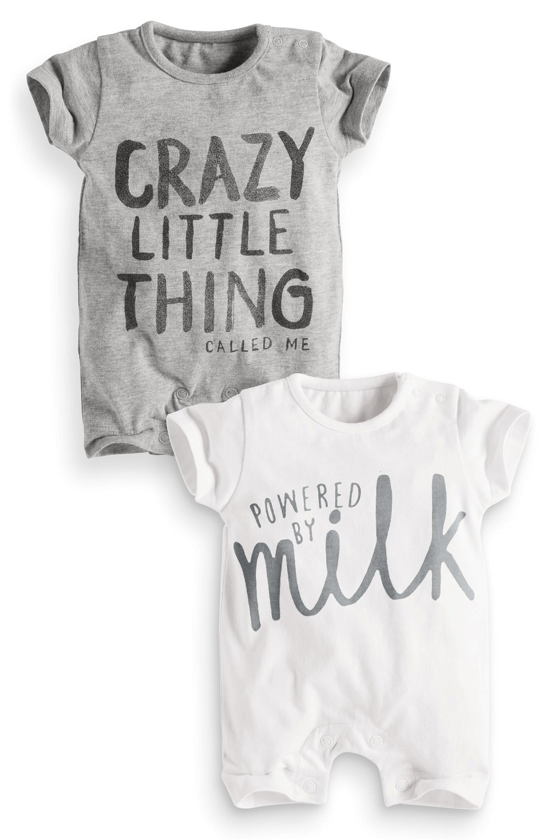 Buy Two Pack Slogan Rompers 0 18mths from the Next UK online shop