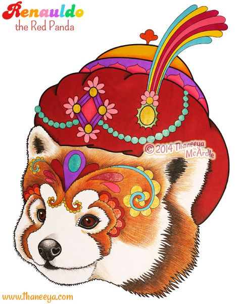 Dapper Animals Coloring Book Renauldo The Red Panda Page By Thaneeya McArdle