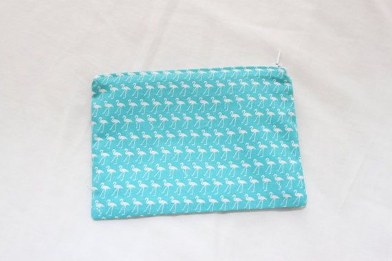 Handmade Cotton Pouch Purse with Aqua and White by BettysBoutiques, £8.00