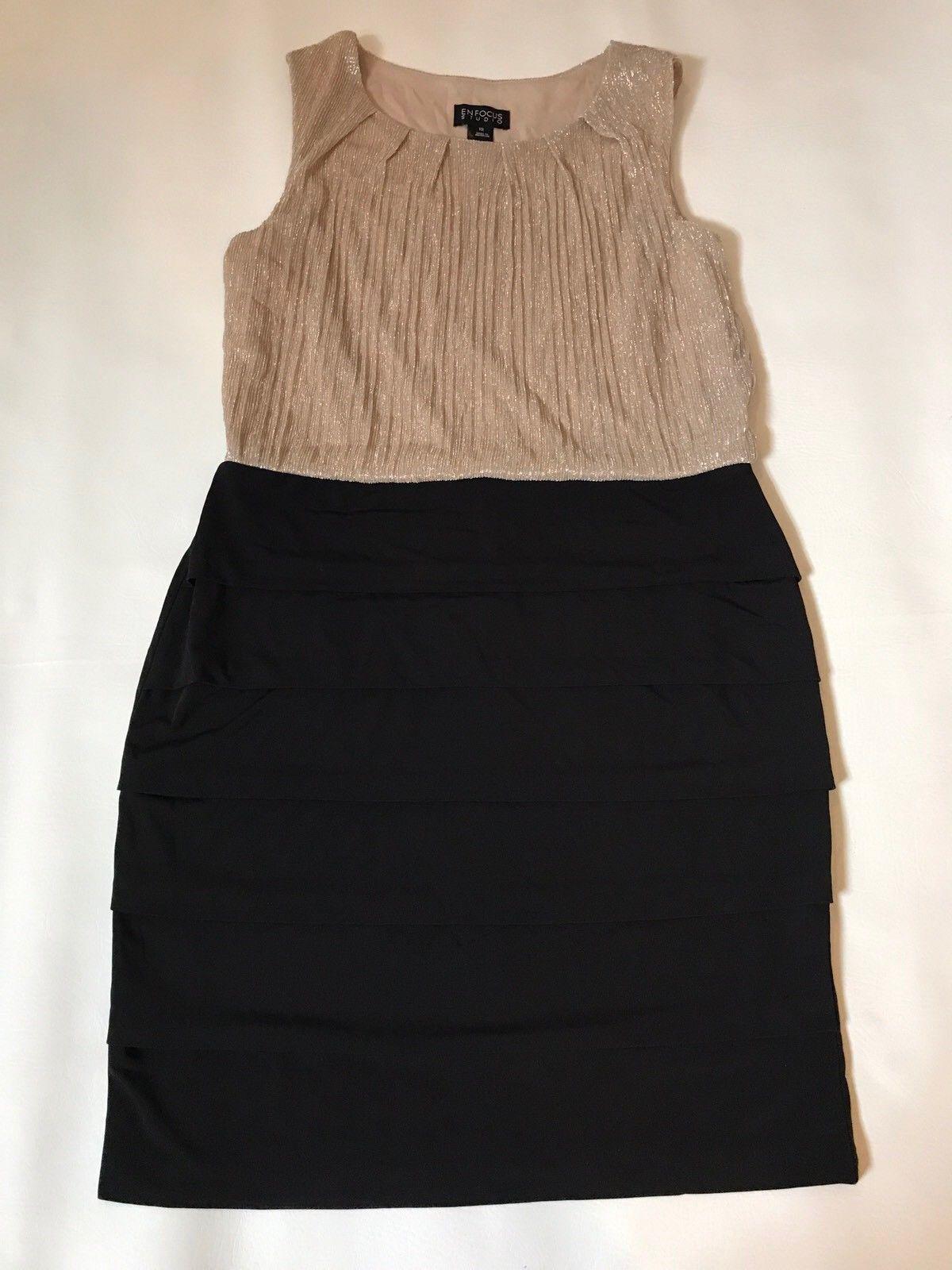 Awesome great womenus gold black shiny dress size large holiday