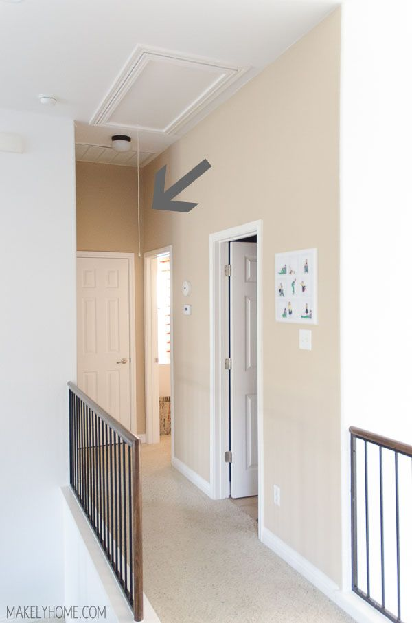 How To Replace Attic Cord With Hook And Pull Attic Doors Attic Renovation Attic Storage