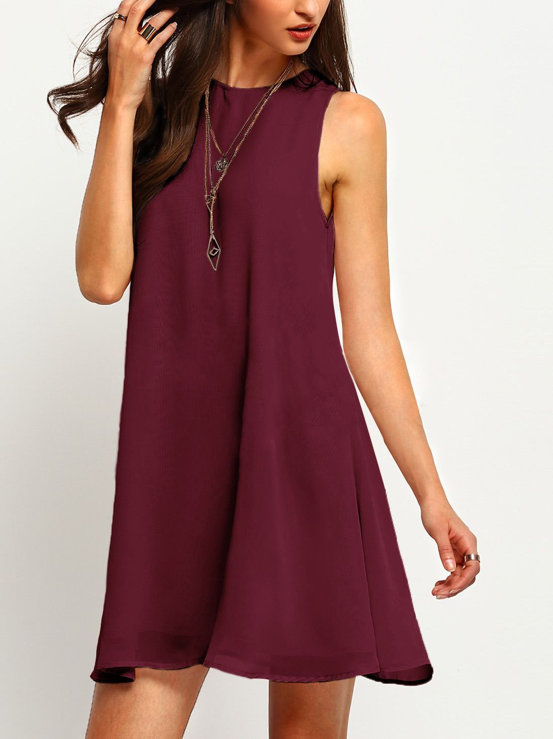 4d6859d4e5471 Material: Chiffon, 100% Polyester Color: Burgundy Pattern Type: Plain  Neckline: Round Neck Style: Casual, Work Type: Tank Silhouette: A Line  Decoration: Cut ...