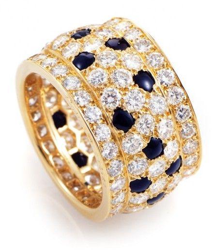 Cartier 18K Yellow Gold Panthere Sapphire & Diamond Ring Size - 5.75