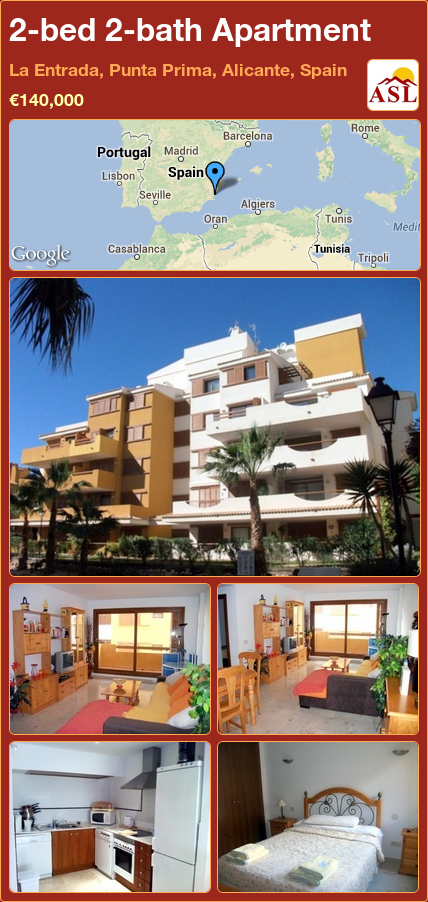 2-bed 2-bath Apartment in La Entrada, Punta Prima, Alicante, Spain ►€140,000 #PropertyForSaleInSpain