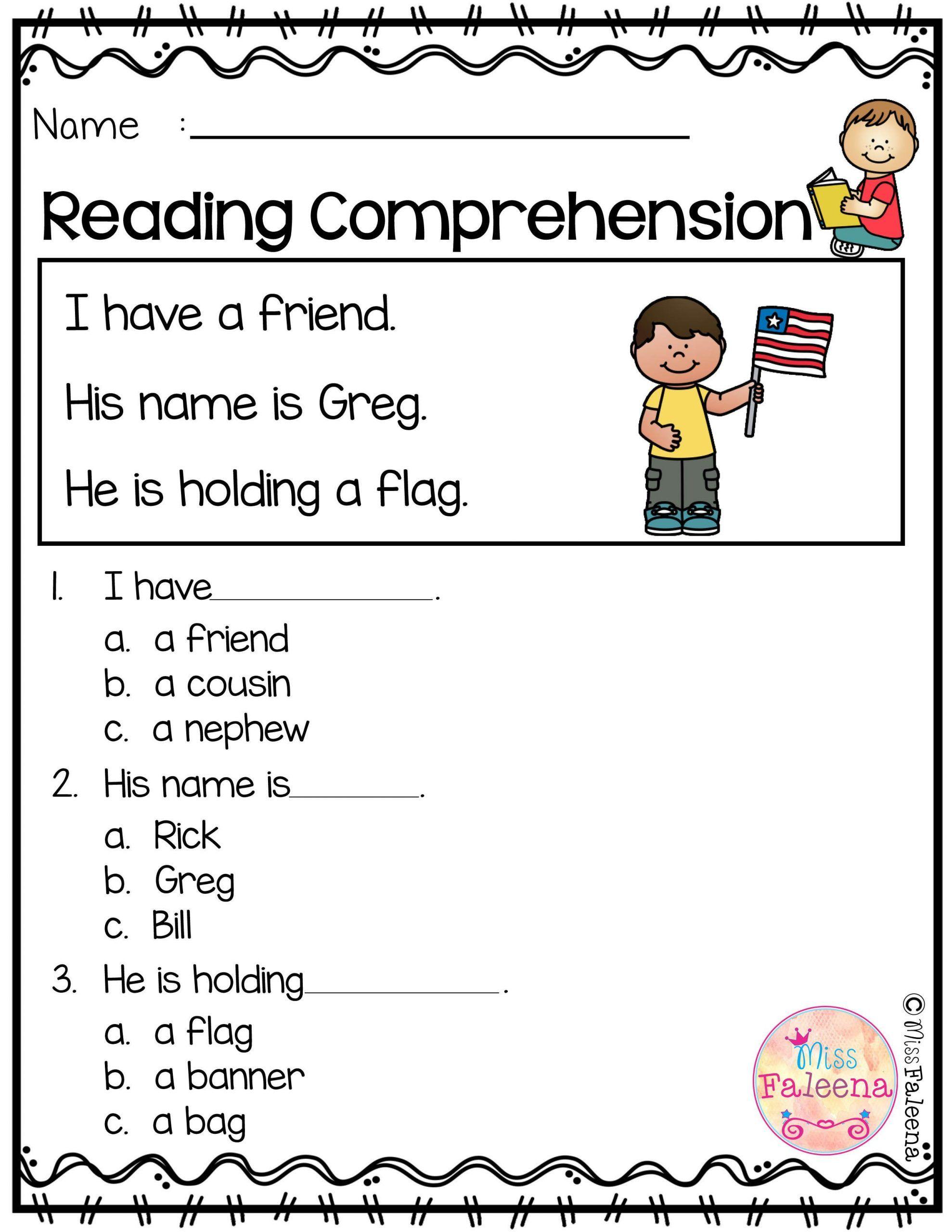 Kindergarten Reading Comprehension Worksheets In