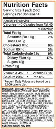 Nutrition Facts - Tropical dip'ems