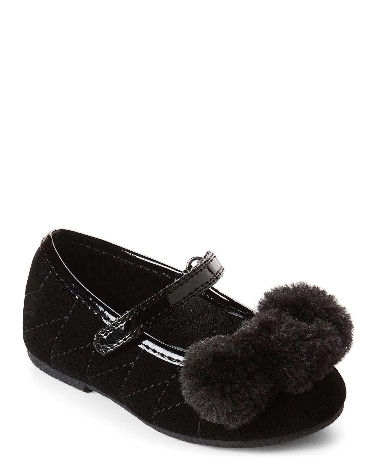 70dfa7198396f Toddler Girls) Black Lil Phoebe Pom Pom Flats   *Apparel ...