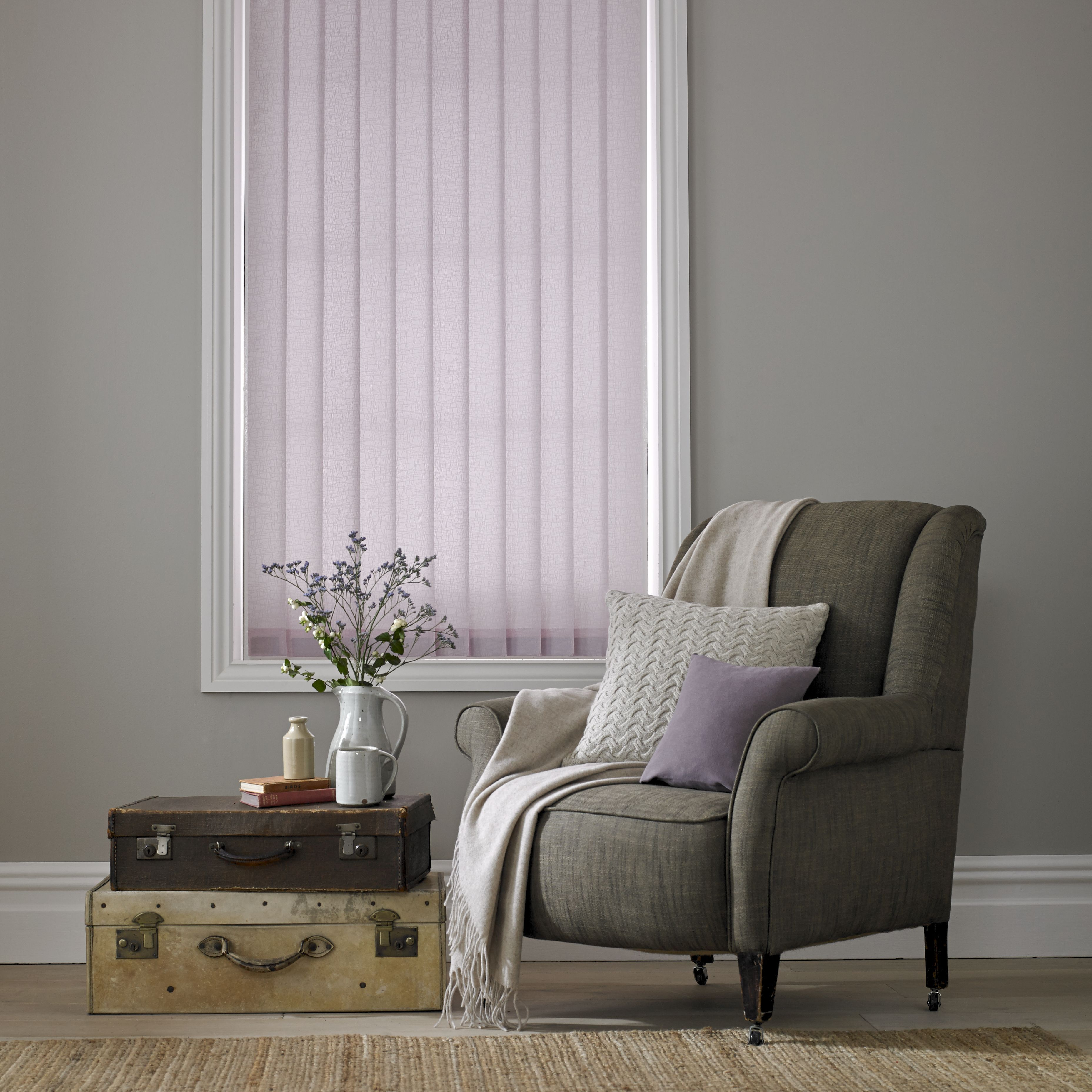 Luxe Orchid Vertical Blinds By Style Studio Living Room Blind Modern Window Dressing Lilac Vertical B Living Room Blinds Roller Blinds Curtains With Blinds