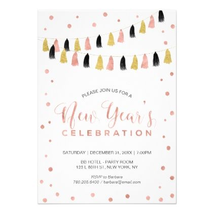 Modern Rose Gold New YearS Eve Party Card  Invitations Custom
