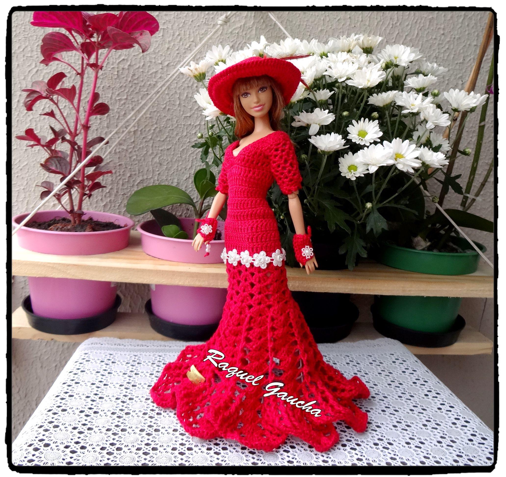 RaquelGaucha  Crochet  Vestido  Boneca  Barbie  Dress  Crochê  Doll   muñeca  Chapéu  Sombrero  Hat  Luvas  Guantes  Gloves 3c70c187406