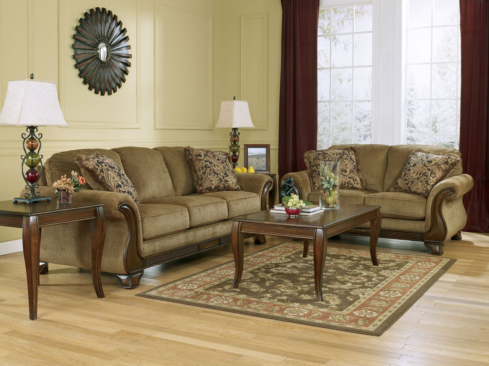fabric sofa sets with wood trim cheap leather toronto santiago traditional brown couch set