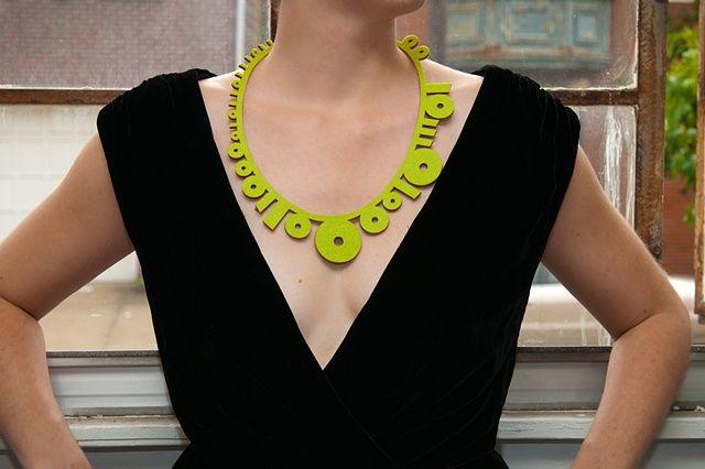 Binary Necklace Lime, laser cut felt, by Maria Eife