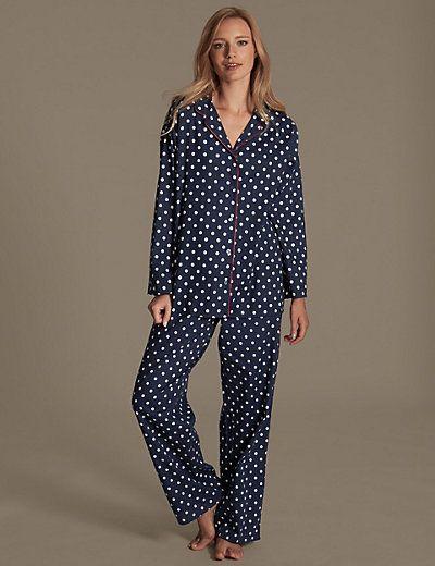06625c0c8c7 Pure Cotton Revere Collar Spotted Pyjamas