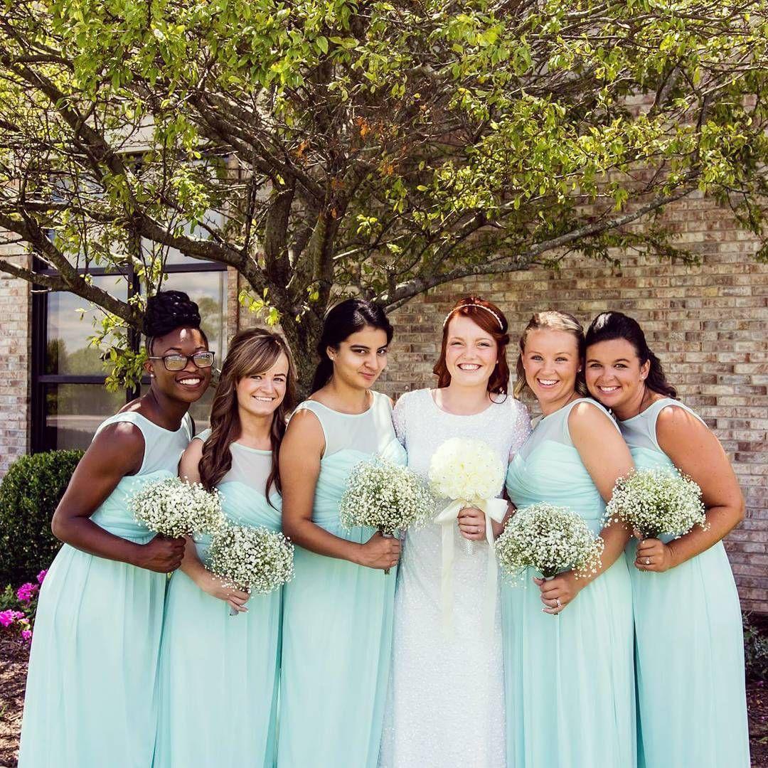 c8ec781fb3 David s Bridal bridesmaids in long illusion sweetheart neckline mint David s  Bridal bridesmaid dresses Photo by   shacar