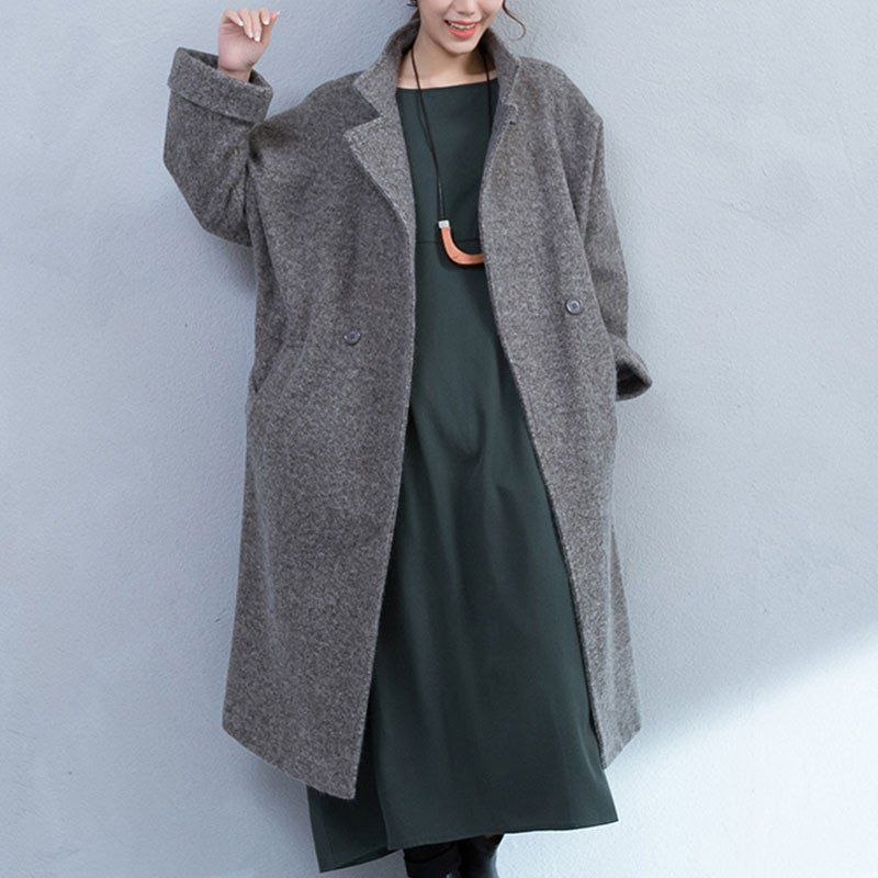 Gray Pocket Woolen Jacket