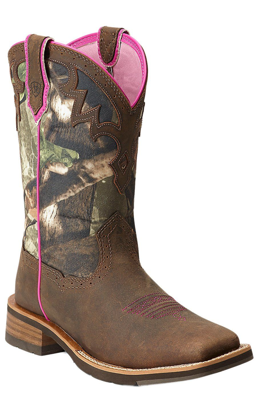 Ariat Unbridled Womens Powder Brown with Camo Top Square Toe Cowboy Boot