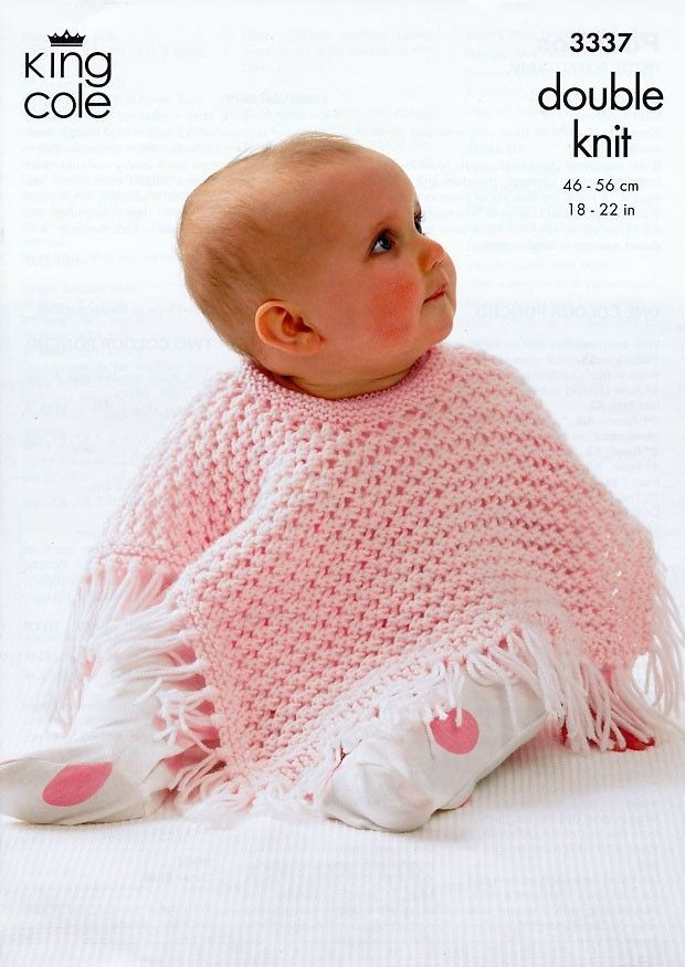King Cole Baby Ponchos Confort DK Knitting Pattern 3337 | Baby ...