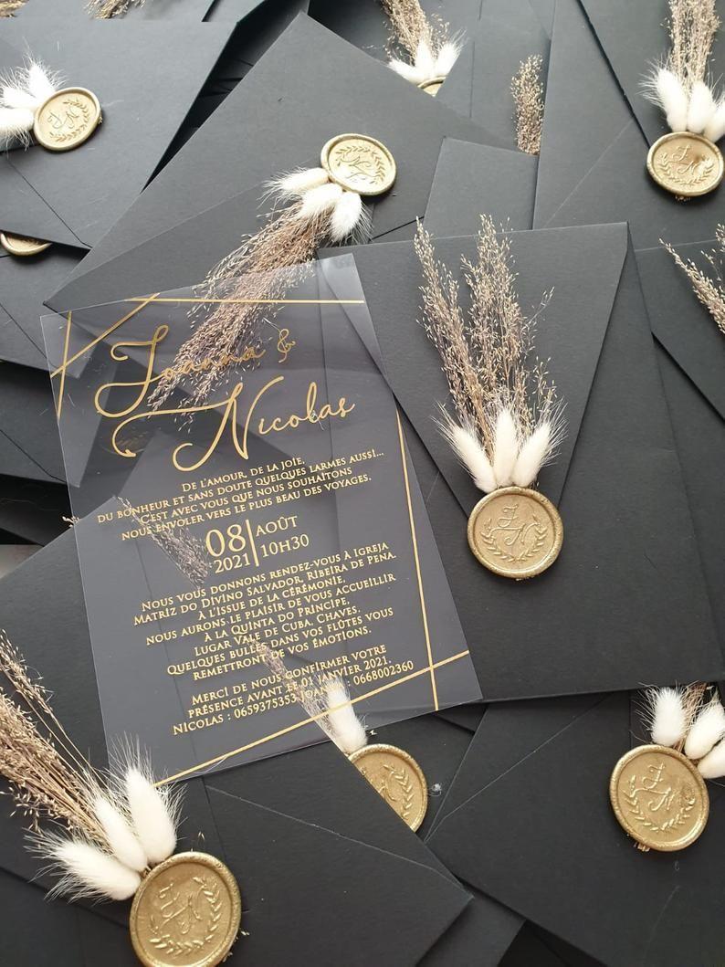 Wedding Invitation, Acrylic İnvitations, Black Env