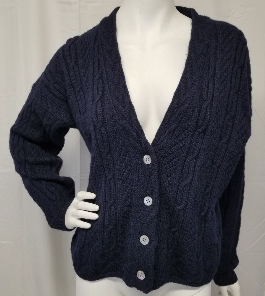 5627522c03 Vtg 90s GAP 100% Wool Navy Blue Cable Knit Cardigan Sweater Chunky Boxy Womens  M  Gap
