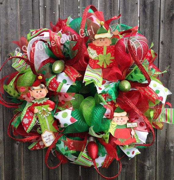 Hey, I found this really awesome Etsy listing at https://www.etsy.com/listing/205185849/christmas-elf-wreath