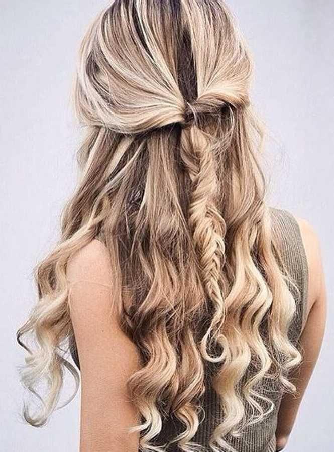 Half Up Half Down Fishtail Braid Hair Styles Curly Hair Styles Long Hair Styles
