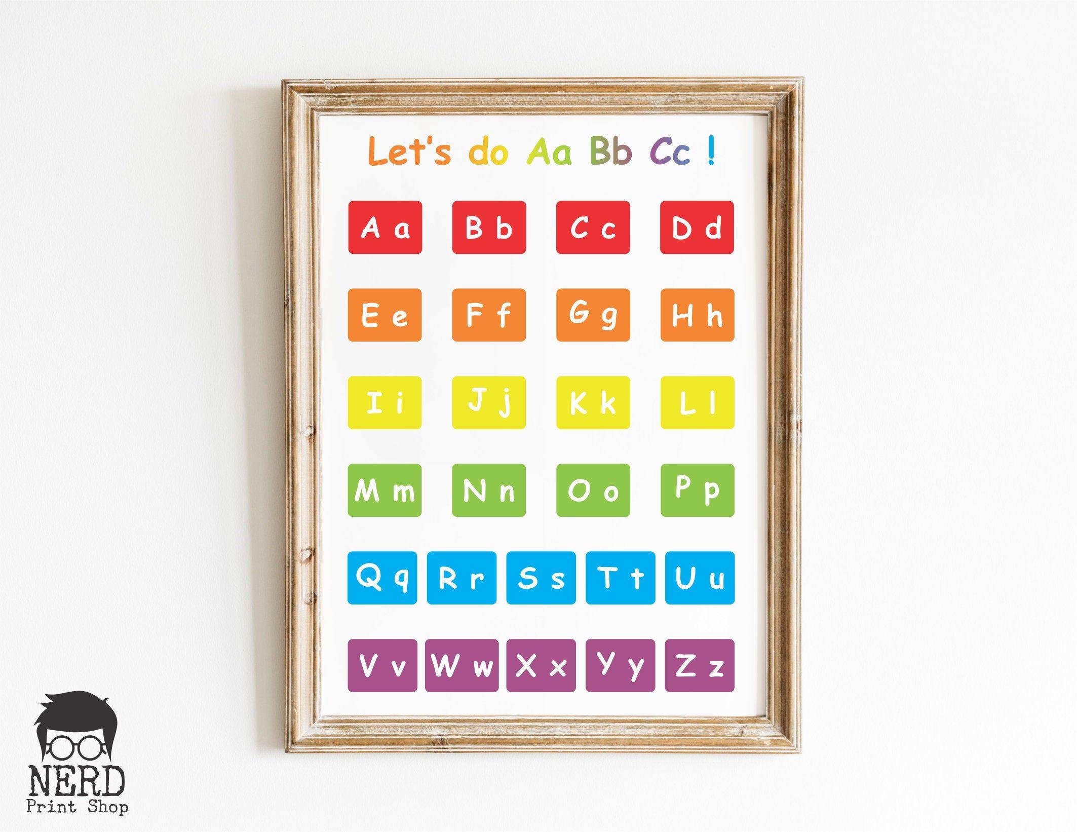 Aa Bb Cc Alphabet Poster Digital Download Wall Art Etsy