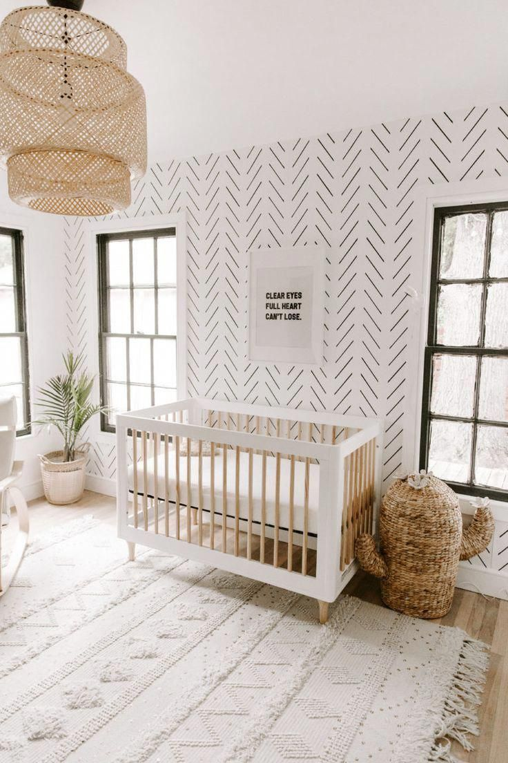 gender neutral Minimal Boho Nursery – white natural minimalist boho nursery with…