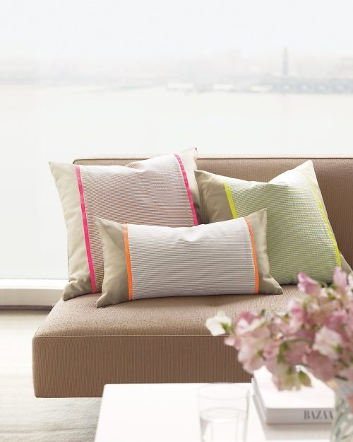 Seersucker Pillow Sleeve - Martha Stewart Sewing Projects. Good to dress up your existing pillows with any fabric remnants.