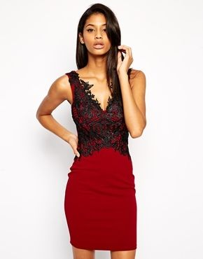 fa92ff69a9b Lipsy Pencil Dress with Lace Top Detail - Red on shopstyle.com ...