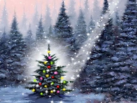 Christmas Tree In Snowy Forest Forest Art Christmas Holiday Beautiful Trees Lights Serenity Christmas Tree Painting Christmas Tree Art Christmas Art