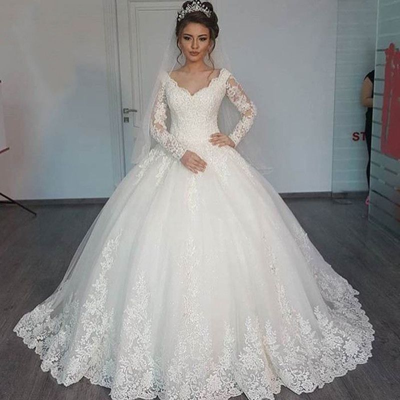 Full Long Sleeve Lace White Muslim Wedding Dresses Plus Size Arabic Women Wedding Gown Ball Gowns Wedding Ball Gown Wedding Dress Wedding Dresses 2017
