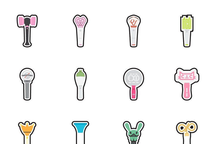 Kpop Lightstick Stickers Icon Set Icon Set Icon Kpop