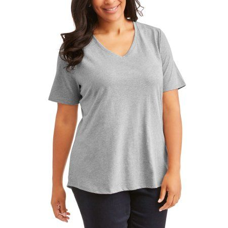 beaf7db69c8 Plus Size Terra and Sky Women s Plus Elevated V Neck Tee