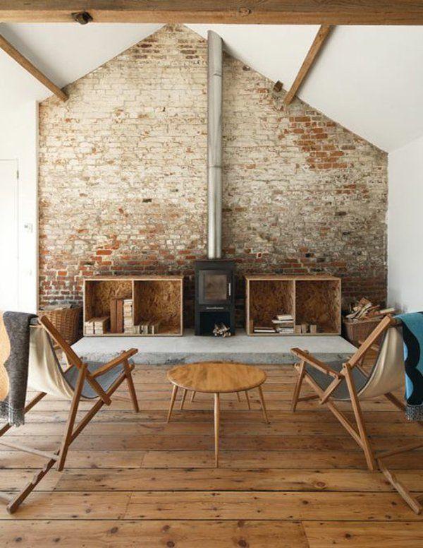rustikales wohnzimmer ziegelstein tapete | Wohnen | Pinterest ...