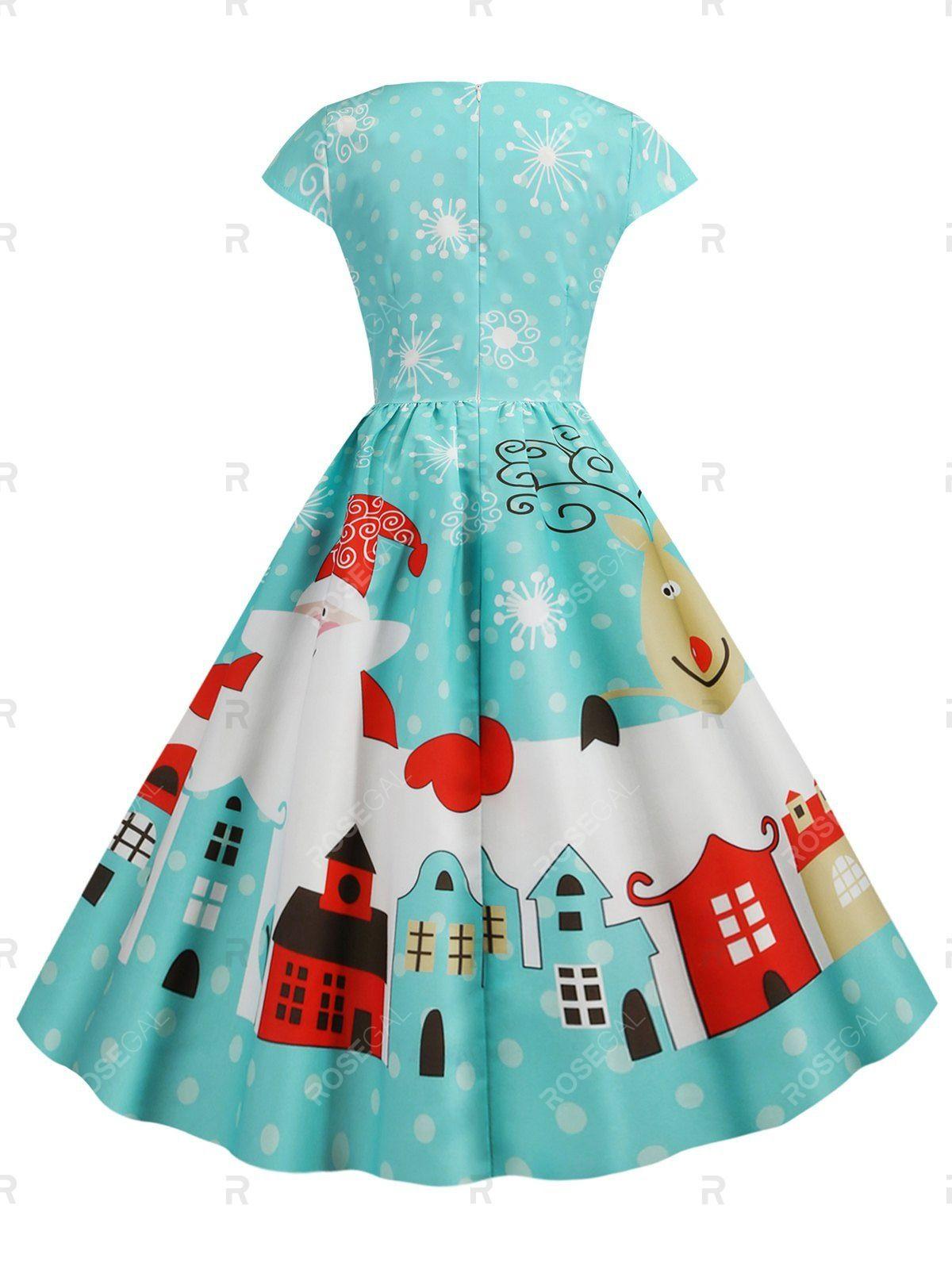 Christmas Castle Santa Claus Tree Print Surplice Midi Dress Vintage Party Dresses Christmas Party Dress Plus Size Vintage Dresses [ 1596 x 1200 Pixel ]