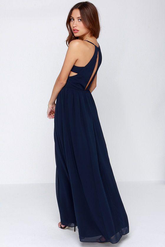 Outfit vestido largo azul marino