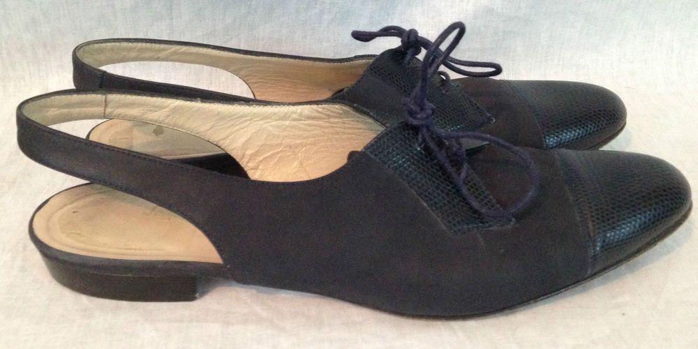 Salvatore Ferragamo Boutique Blue Slingback Flats Sandal Oxfords ~ Women's 9.5 #SalvatoreFerragamo #Slingbacks