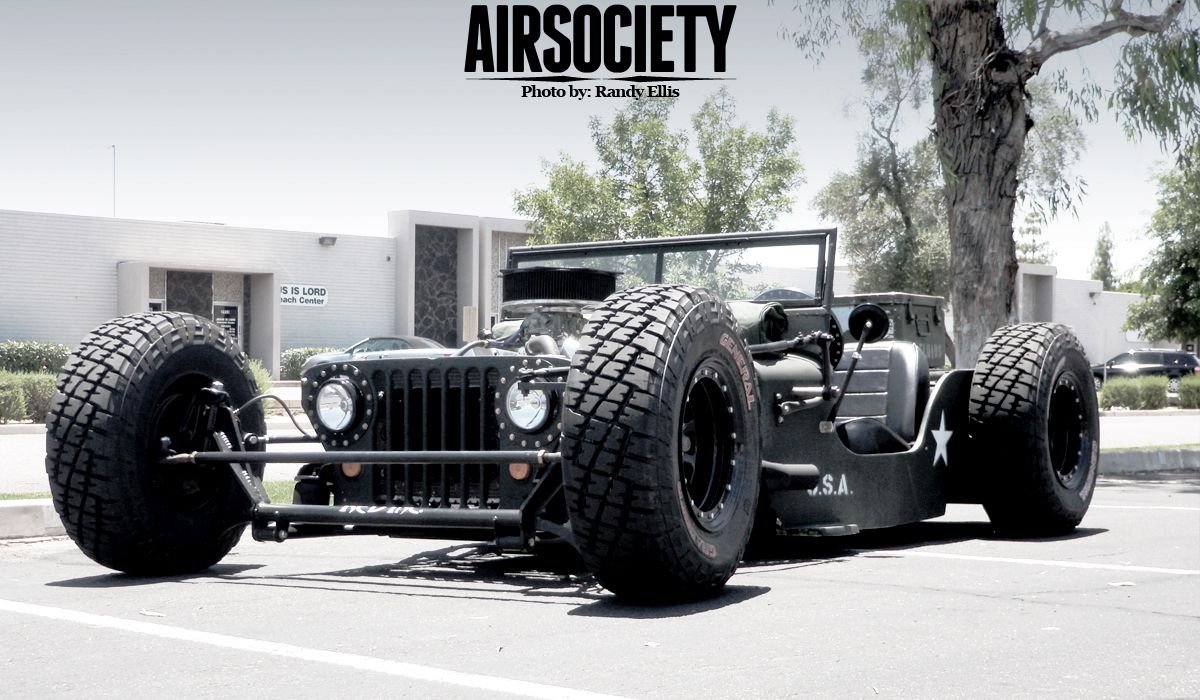 chopped and dropped 1945 Jeep Willys CJ-2A Rat Rod.   Fast Machines
