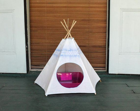 Cat Teepee - Hyacinth Blue Kiteepee - cat tent - cat bed - cat house - litter box cover : litter box tent - memphite.com