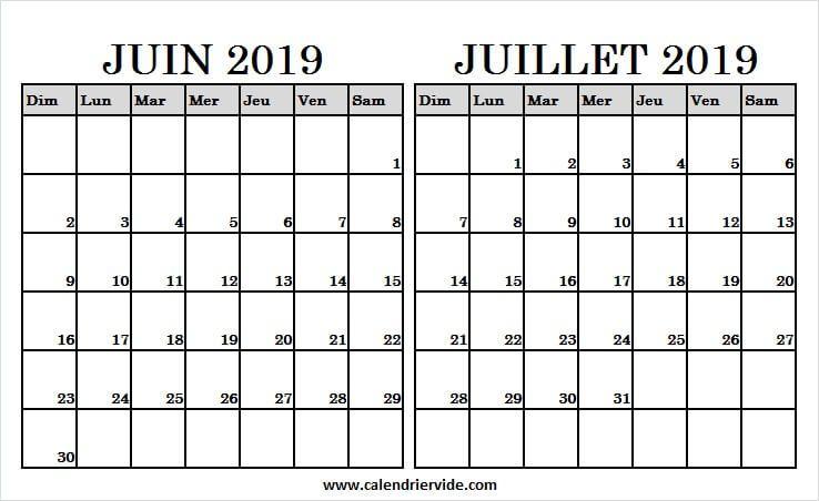 Calendrier Du Mois De Juillet 2019.Calendrier Mois Juin Juillet 2019 A Imprimer Calendrier