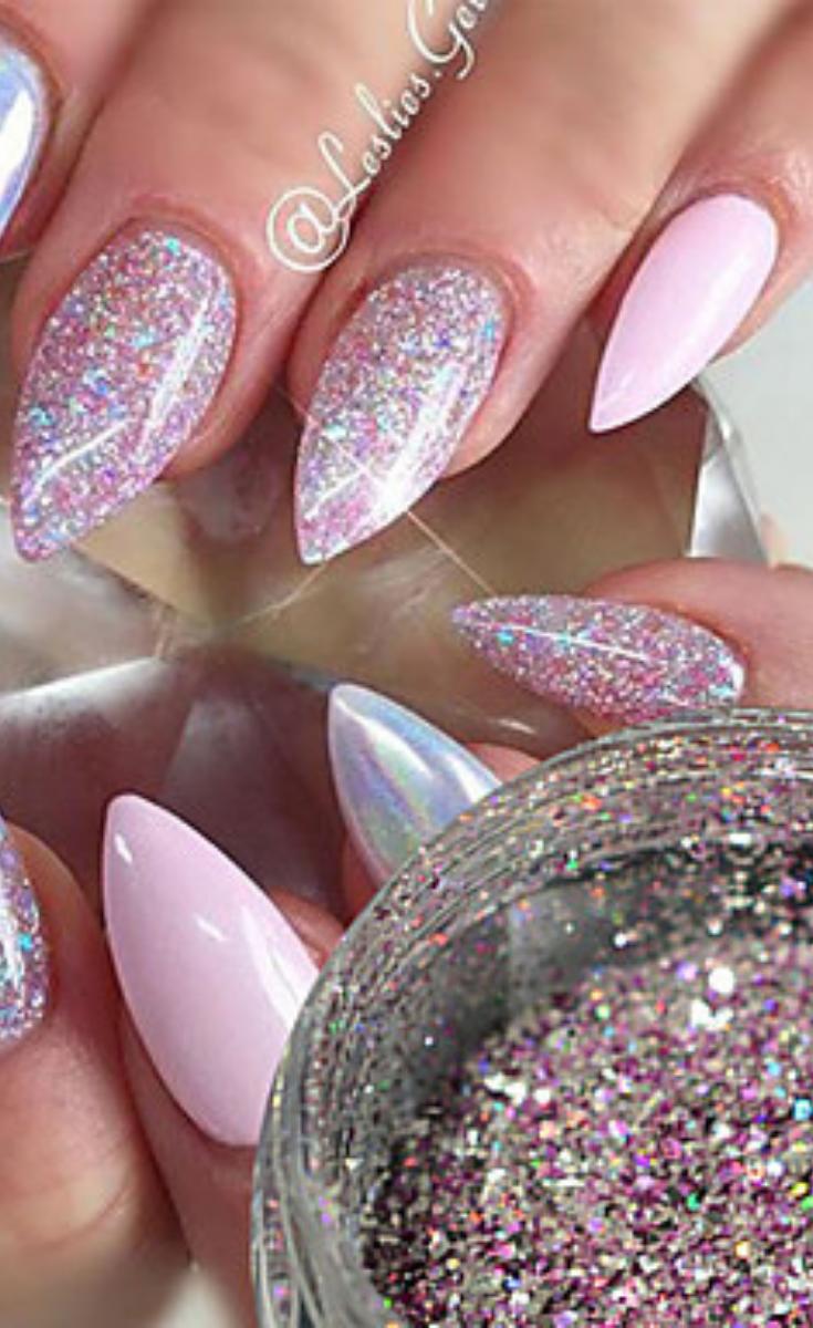 63 Fabulous Ways To Wear Glitter Nails Designs For 2019 Summer Nailsdesigns Glitternails Best Acrylic Nails Nails Design With Rhinestones White Acrylic Nails