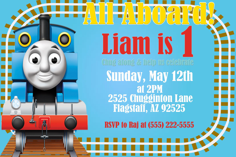 Thomas the Train 4x6 Digital Birthday Invitation | Kids, Party ...