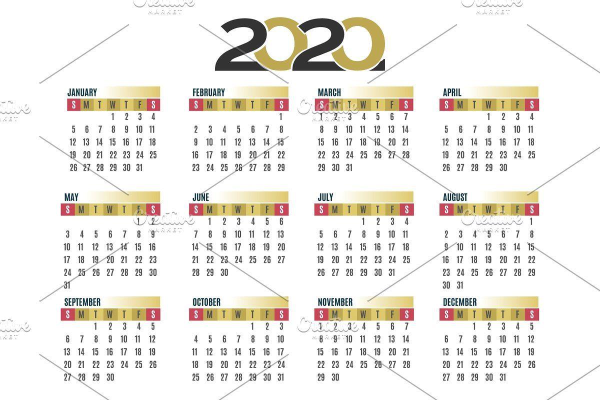 Wall calendar 2020 , ad, calendarsquartersyear