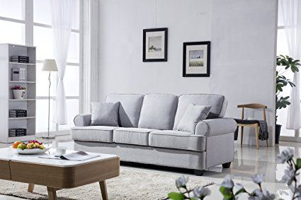 Clic Plush Fabric Sofa Living Room Furniture Light Grey