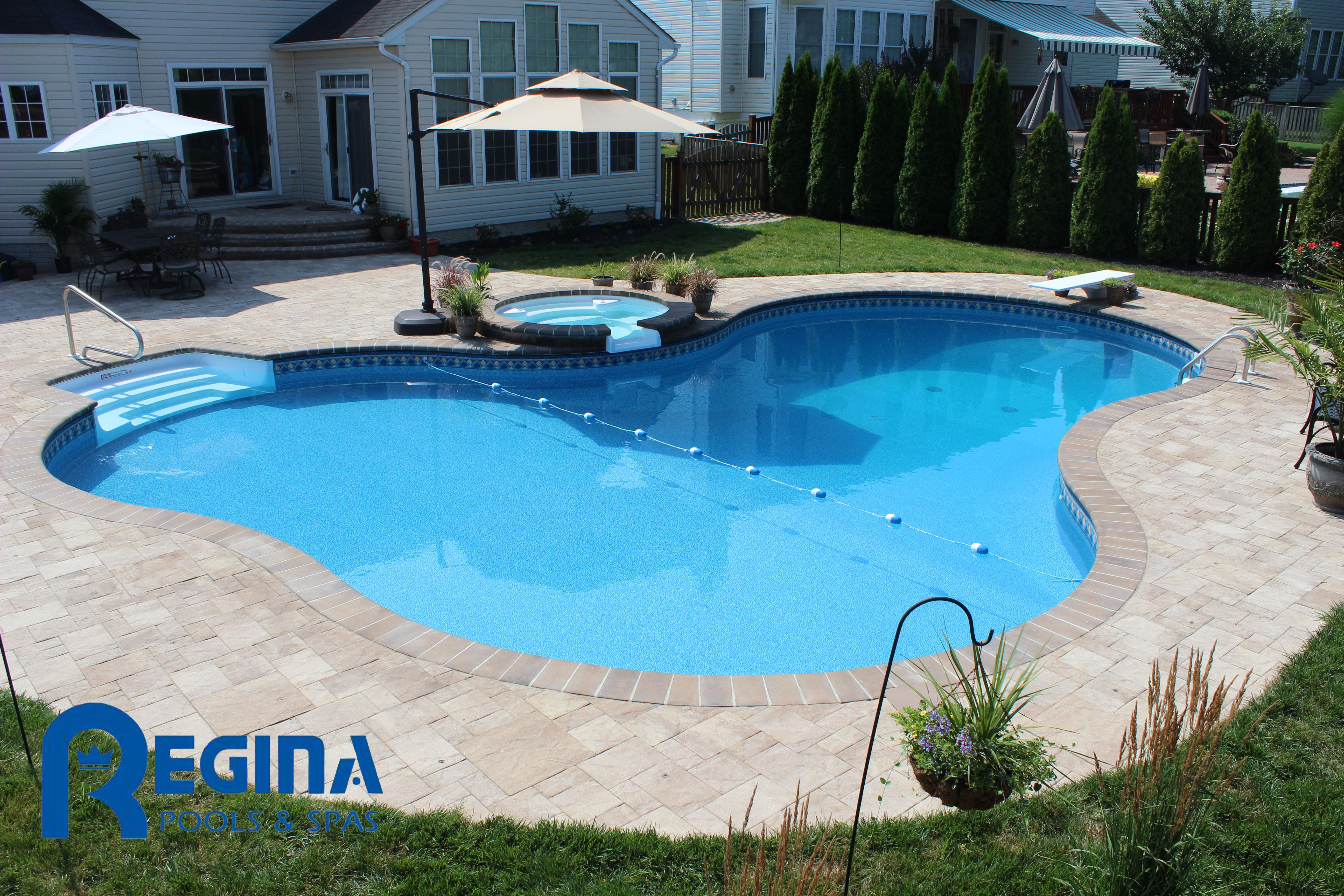 Lagoon-shaped vinyl liner swimming pool with diving board and ...
