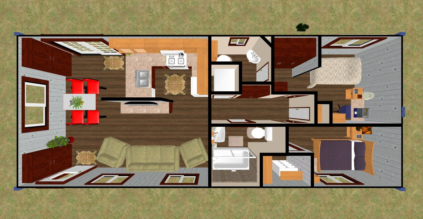 600 sq ft house interior design. The flipped 640 sq ft  Daybreak s 3D top view This Plan which is a fave of mine in the ISBU section but I moved main bed to back