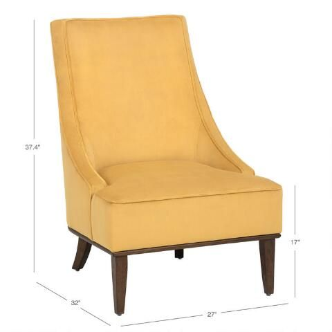 Best Marigold Yellow Sl*P* Arm Seth Upholstered Chair 400 x 300